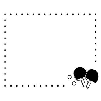 卓球のフレーム・枠の白黒イラスト02 | かわいい無料の白黒イラスト モノぽっと