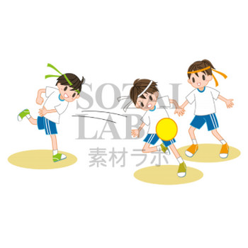 ドッヂボールをする子ども達   無料イラスト素材 素材ラボ