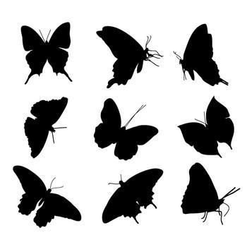 [フリーイラスト] 18種類の蝶のシルエットのセットでアハ体験 - GAHAG | 著作権フリー写真・イラスト素材集