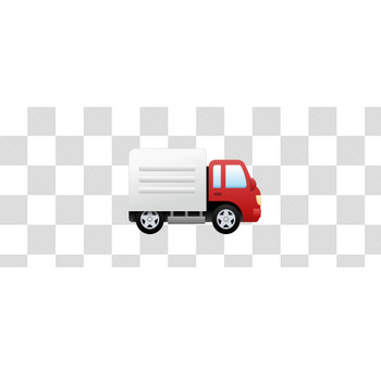 赤いトラックの真横のフリーイラスト素材