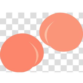 シンプルなぷりっぷりな桃のフリーイラスト素材2点セット