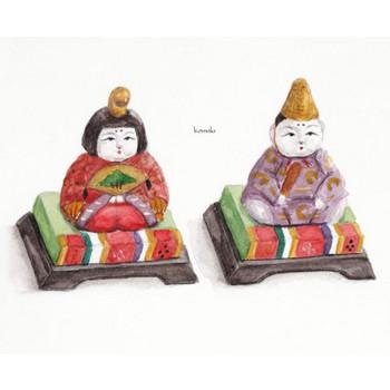 雛人形   ひな祭り 雌雛 雄雛 3月3日 お内裏様 お雛様   フリーイラスト素材 コムマール-sozai-