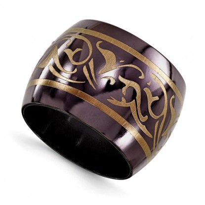 Wide Domed Edward Mirell Black Titanium Wedding Band Copper