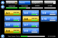 Sector 33 Levels and Scores Screen