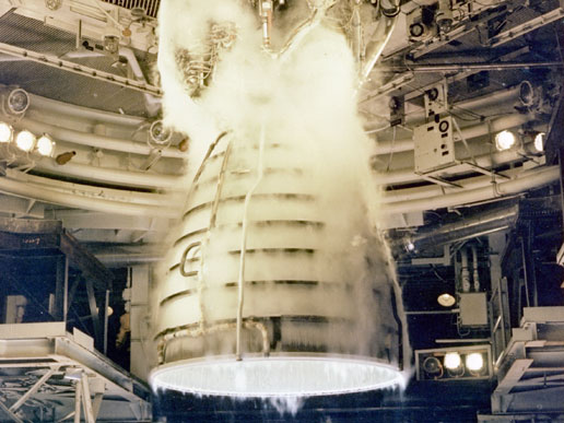 Space shuttle main engine undergoes a test firing.