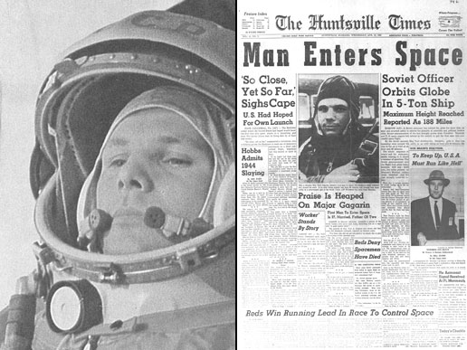 Yuri Gagarin becomes the first man in space on April 12, 1961
