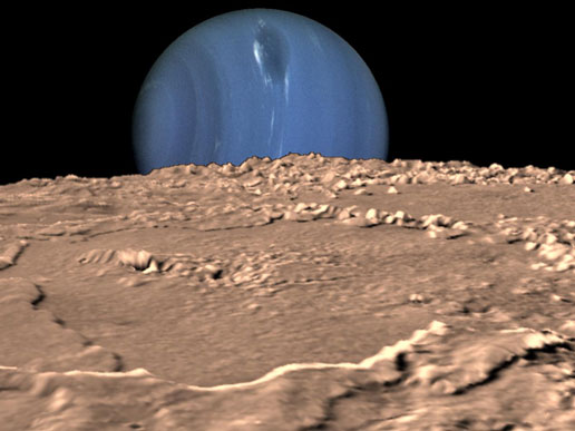 Composite illustration of the planet Neptune as seen from its moon Triton