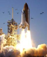 A space shuttle lifts off amid a flurry of birds.