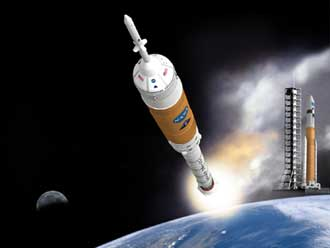 Artists' concept of Ares launch vehicles