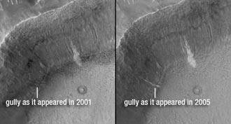 new light-toned material in gully