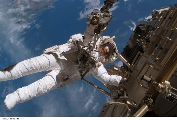 NASA Christer Fuglesang Participates in a Spacewalk