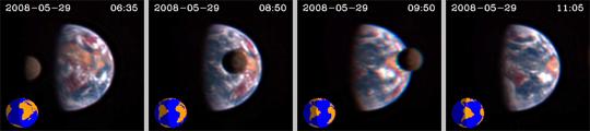 Moon transits Earth by EPOXI
