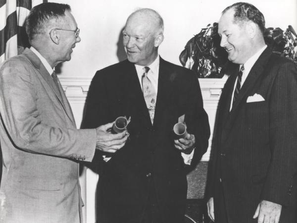 NASA - President Eisenhower Presents NASA Commissions