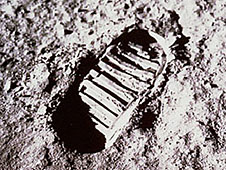 A boot print on the moon's surface