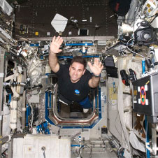 Dr Greg Chamitoff aboard the International Space Station