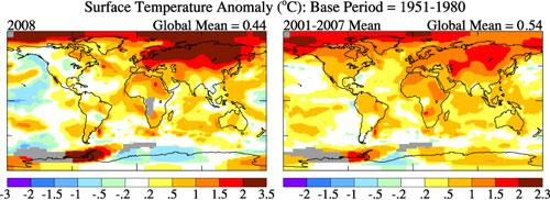 Comparação de 2008 com a média da temperatura 2001-2007 anomalias. Crédito: NASA GISS<br />
