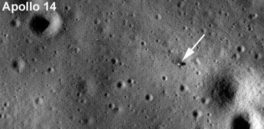 Labeled LROC image of Apollo 14 landing site