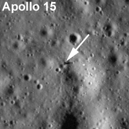 Labeled LROC image of Apollo 15 landing site