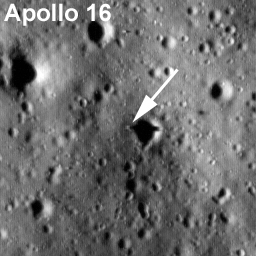 Labeled LROC image of Apollo 16 landing site