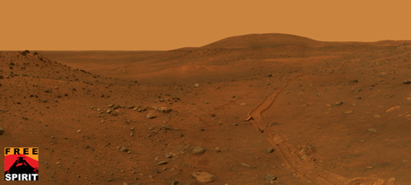 full-circle view from the panoramic camera (Pancam) on NASA's Mars Exploration Rover Spirit