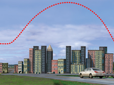 profile illustration showing the heat island effect of an urban area