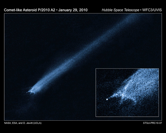 Hubble image of comet-like object P/2010 A2