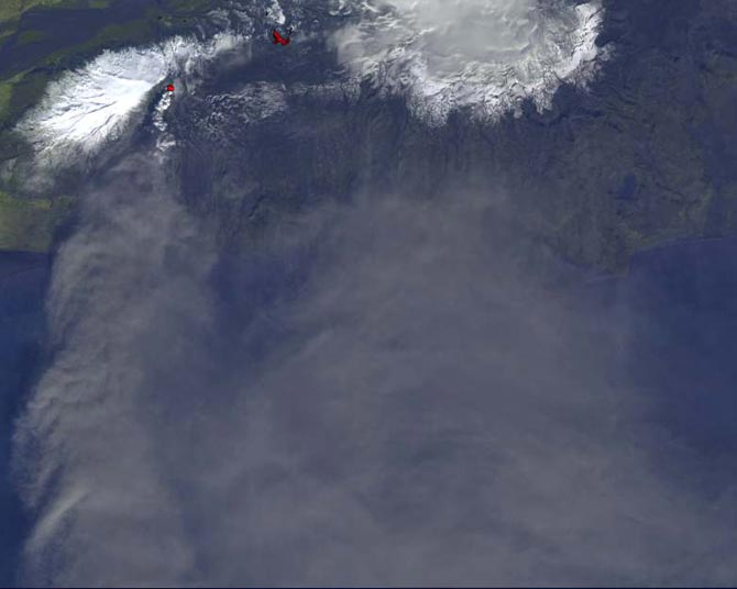 Satellite image of Iceland and volcano
