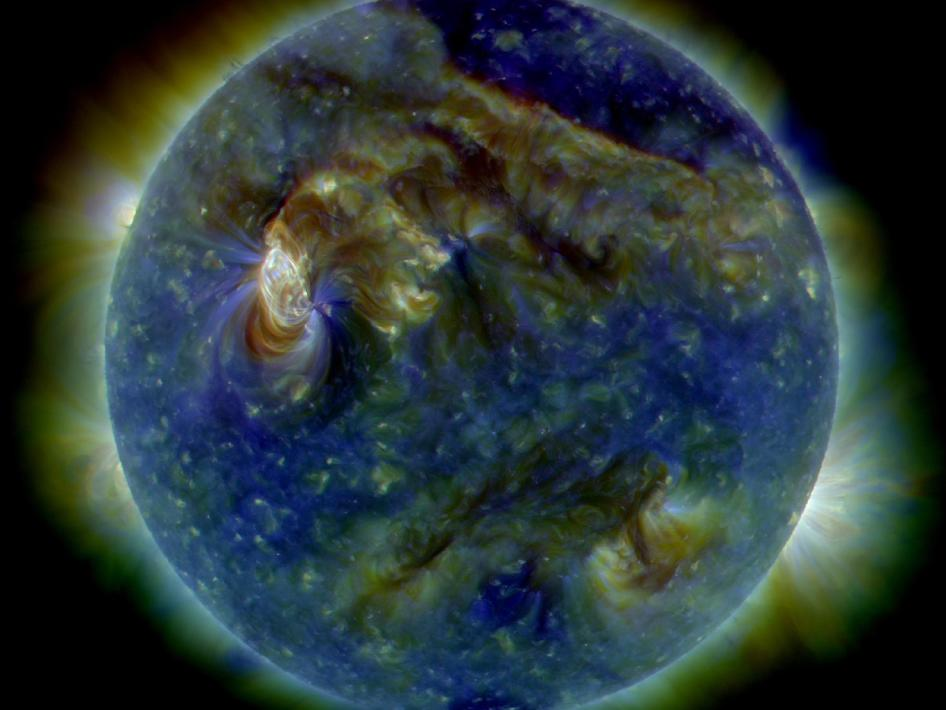 On August 1, 2010, almost the entire Earth-facing side of the sun erupted in a tumult of activity. This image from the Solar Dynamics Observatory of the news-making solar event on August 1 shows the C3-class solar flare.