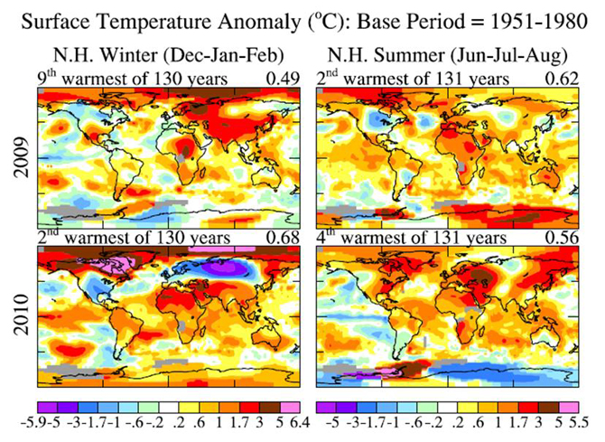 four graphs show seasonal-mean temperature anomalies relative to 1951-1980 for the most recent two summers and winters