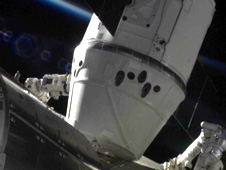 The SpaceX Dragon is berthed the Harmony module