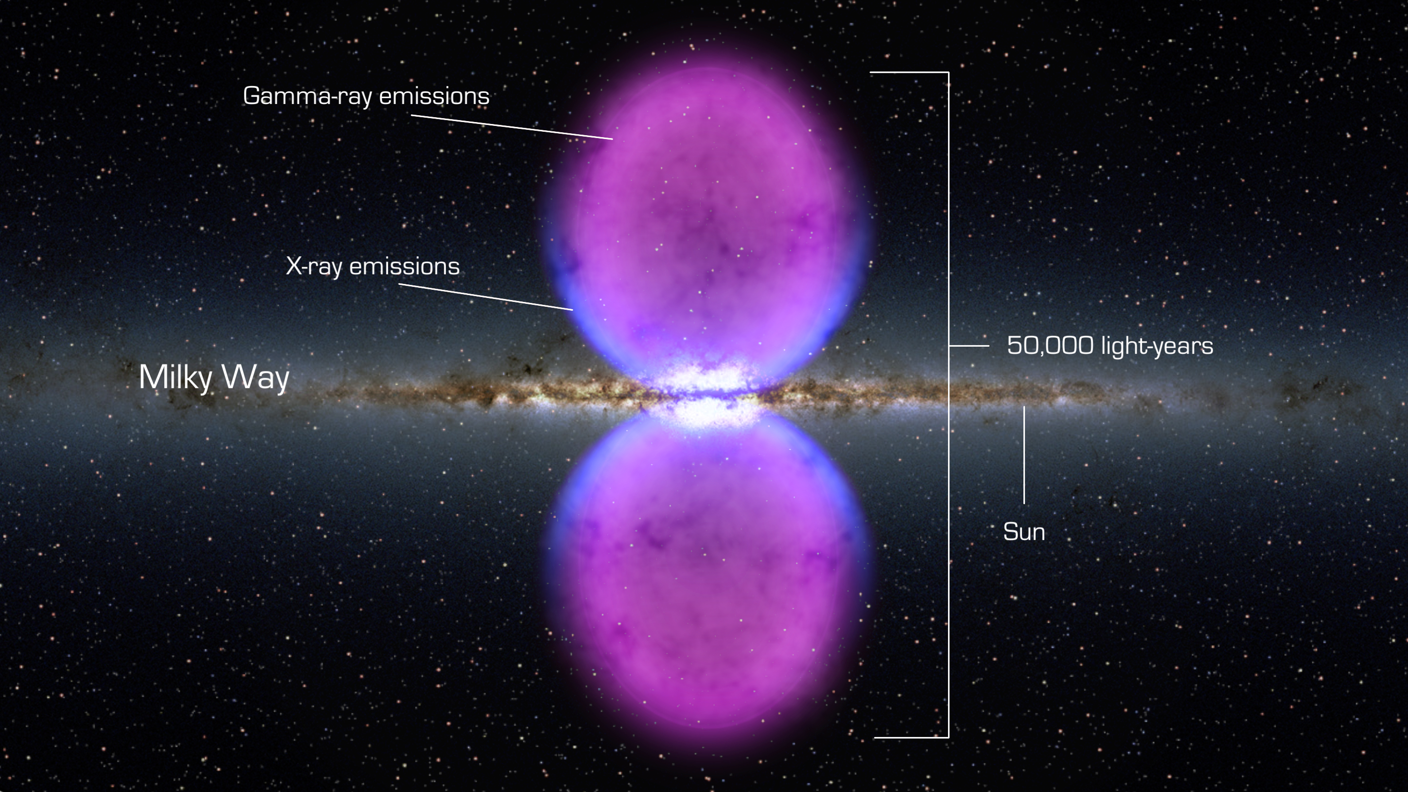 From end to end, the newly discovered gamma-ray bubbles extend 50,000 light-years, or roughly half of the Milky Way's diameter, as shown in this illustration. Hints of the bubbles' edges were first observed in X-rays (blue) by ROSAT, a Germany-led mission operating in the 1990s. The gamma rays mapped by Fermi (magenta) extend much farther from the galaxy's plane.