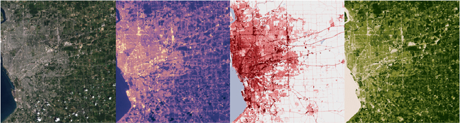 Buffalo, NY, in natural color, infrared, vegetation and developed land