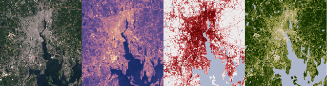 Providence, RI, in natural color, infrared, vegetation and developed land