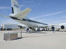 Emissions detection equipment set up behind NASA's DC-8 flying laboratory