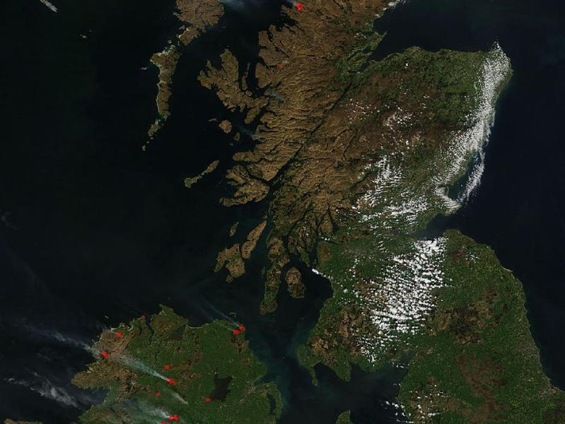 NASA   England  Scotland and northern Ireland Dry weather conditions sparked fires to burn in parts of England  Scotland  and northern Ireland