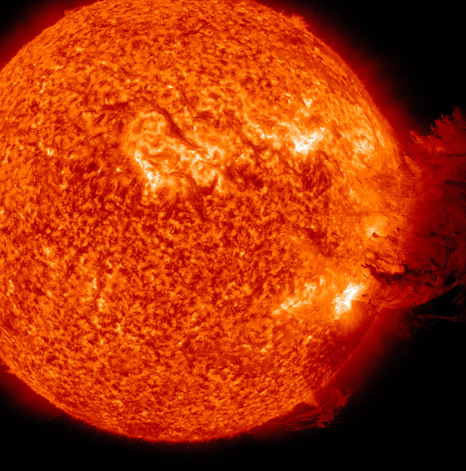SDO image of coronal mass ejection on 06.07.2011.