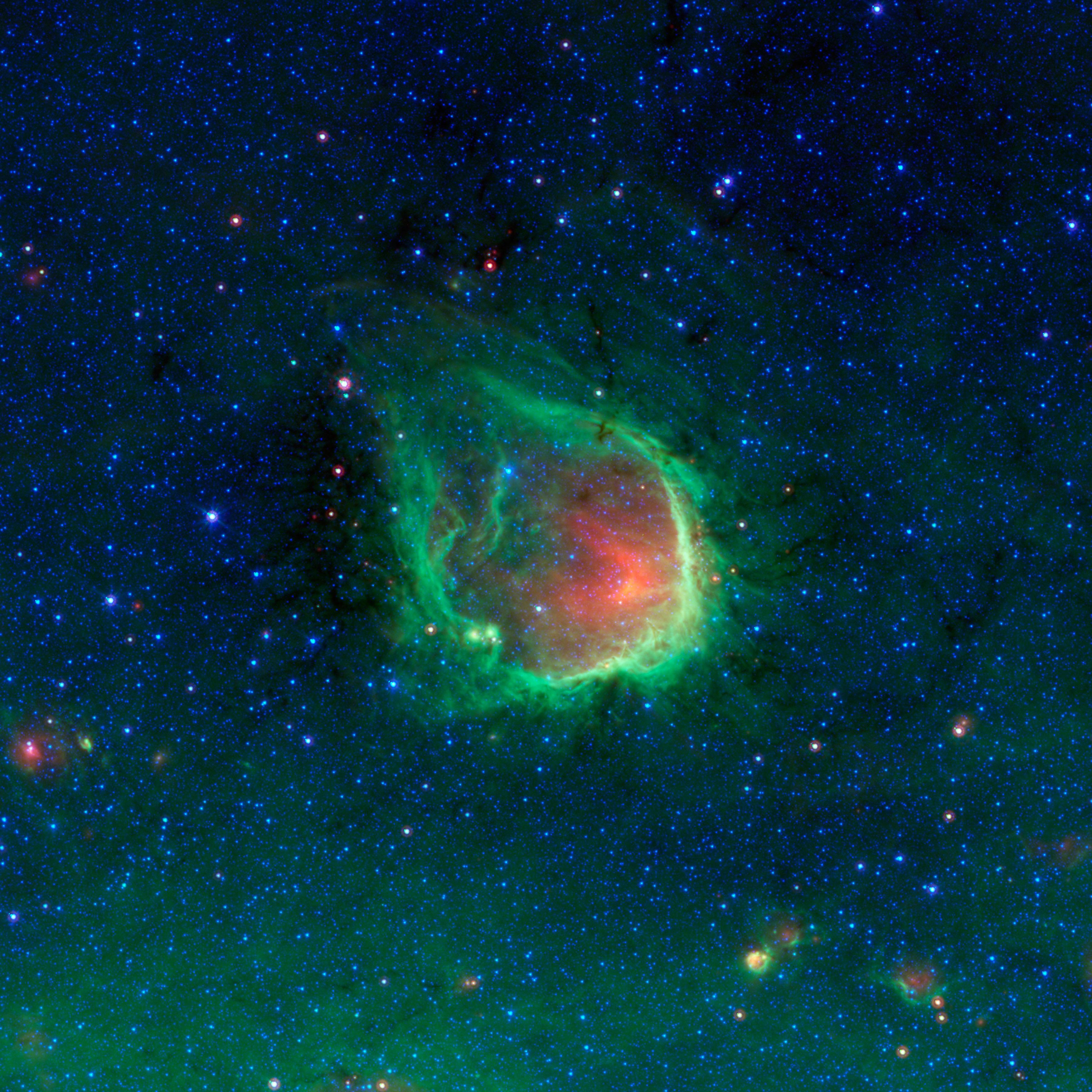 RCW-120 वृश्विक नक्षत्र की पुंछ के पास स्थित ब्रह्माण्डीय बुलबुला (बड़े आकार मे देखने चित्र पर क्लीक करें)