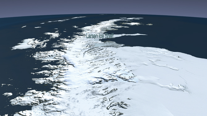 'flyover' view of the Larsen Ice Shelf