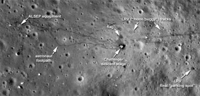 Fotografia in alta definizione del sito d'allunaggio dell'Apollo 17 scattata dal Lunar Reconnaissance Orbiter o LRO