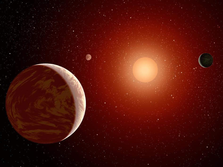 Planets Under a Red Sun (Artist's Concept)