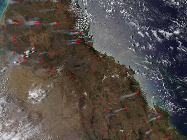 NASA - Many Bushfires in Queensland, Aus.