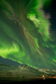 Aurora on March 8, 2012  in Faskrudsfjordur, Iceland.