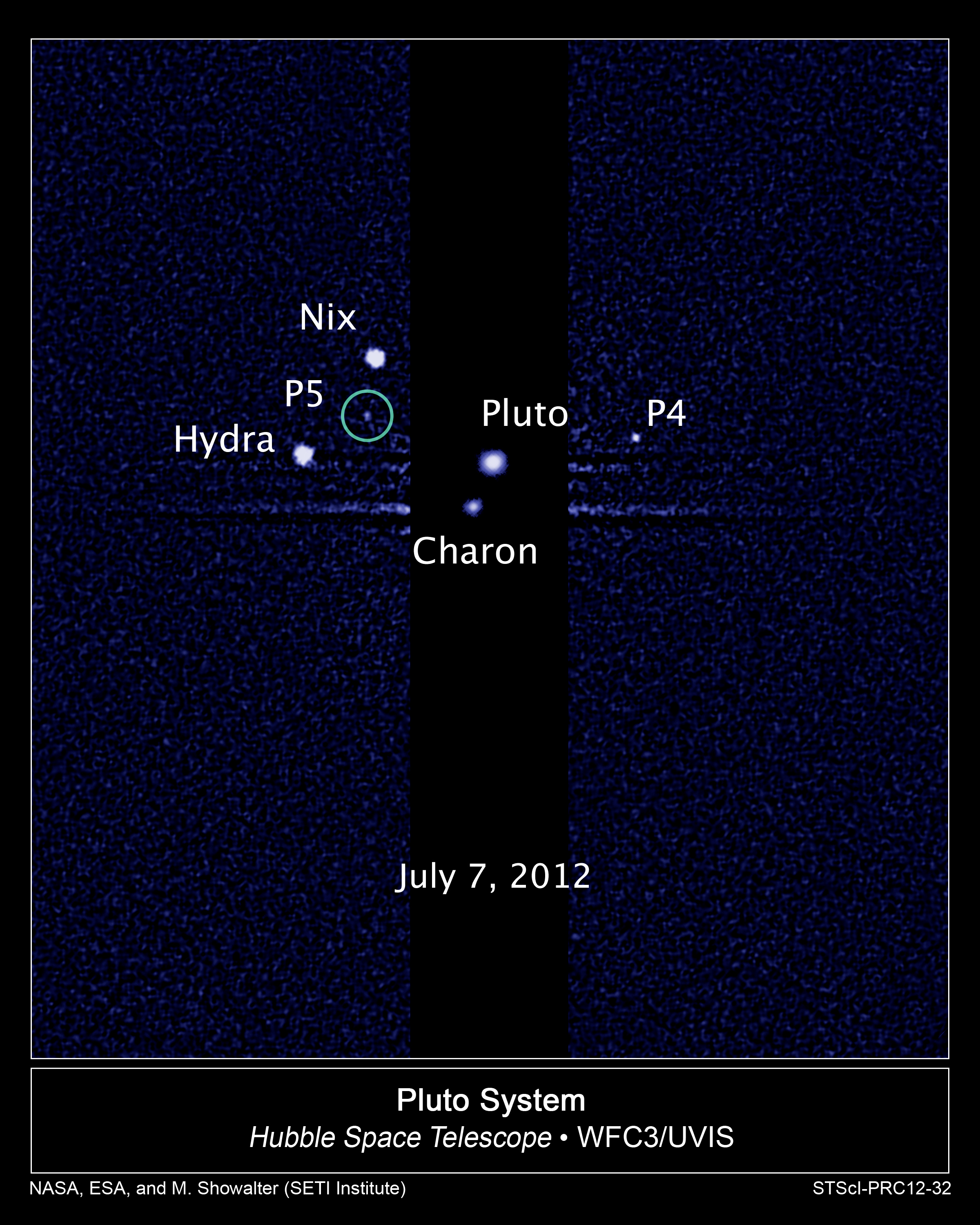 Pluto and its moons, including the recently discovered moon P5. This image, taken by NASA's Hubble Space Telescope, shows five moons orbiting the distant, icy dwarf planet Pluto. The green circle marks the newly discovered moon, designated P5, as photographed by Hubble's Wide Field Camera 3 on July 7. The observations will help scientists in their planning for the July 2015 flyby of Pluto by NASA's New Horizons spacecraft. P4 was uncovered in Hubble imagery in 2011. (Credit: NASA; ESA; M. Showalter, SETI Institute)