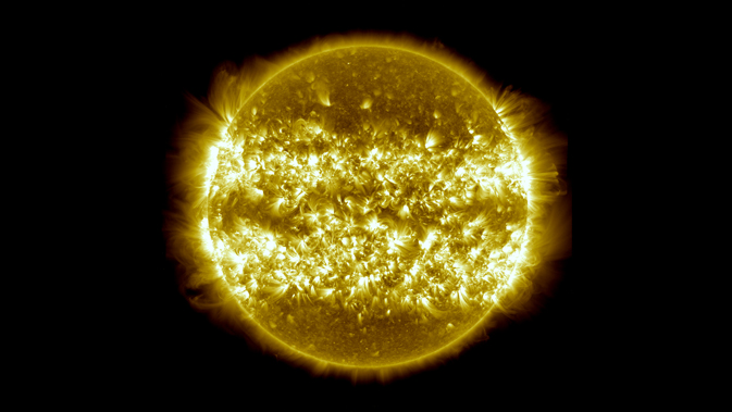 composite SDO image of sun from April 2012-April 2013