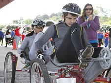 A team from University of Puerto Rico at Humacao competes in the 2013 NASA Great Moonbuggy Race