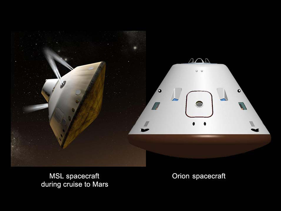 Artist's concepts shows NASA's Mars Science Laboratory cruise capsule and NASA's Orion spacecraf