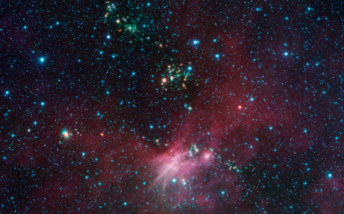 Dozens of newborn stars sprouting jets from their dusty cocoons