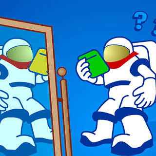 An astronaut in a spacesuit looks in a large mirror as question marks float around his head near the words It's Not the Same