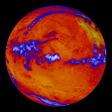 image shows heat radiating from the Pacific Ocean as imaged by the NASA's Clouds and the Earth's Radiant Energy System