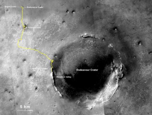 Trek of NASA's Mars Exploration Rover Opportunity